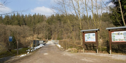 Brücke über das Vorbecken der Dreilägerbachtalsperre.